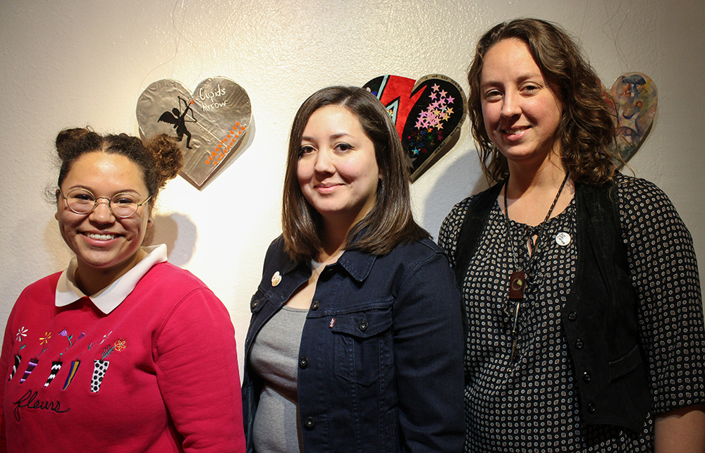 Alt Girl Cinema coordinators (left to right) Larissa Stephens, Andrea Zarate and Danea Johnson at downtown art gallery La Peña after hosting their third film screening of the series. Photo courtesy of the Women's Community Center of Central Texas