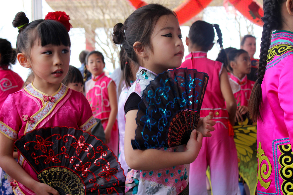 The Love of China School of Dance prepare for their performance.