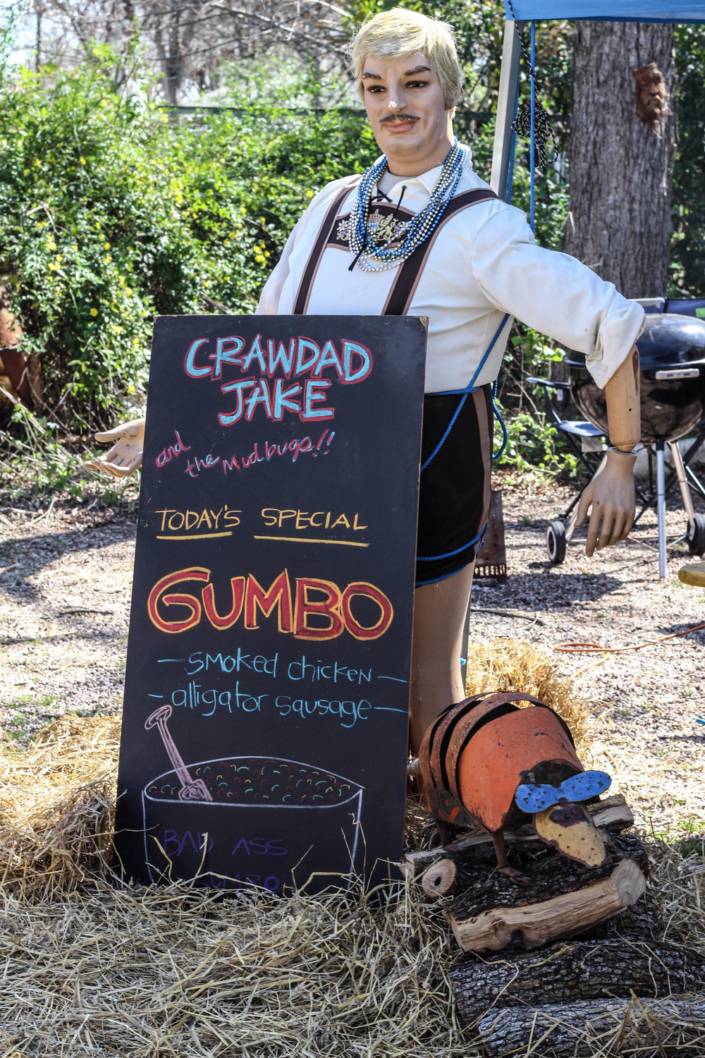 Crawdad Jake does his best to attract people to his gumbo.