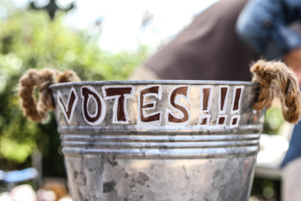 Each booth had a bucket for the public to vote on their favorite gumbo.