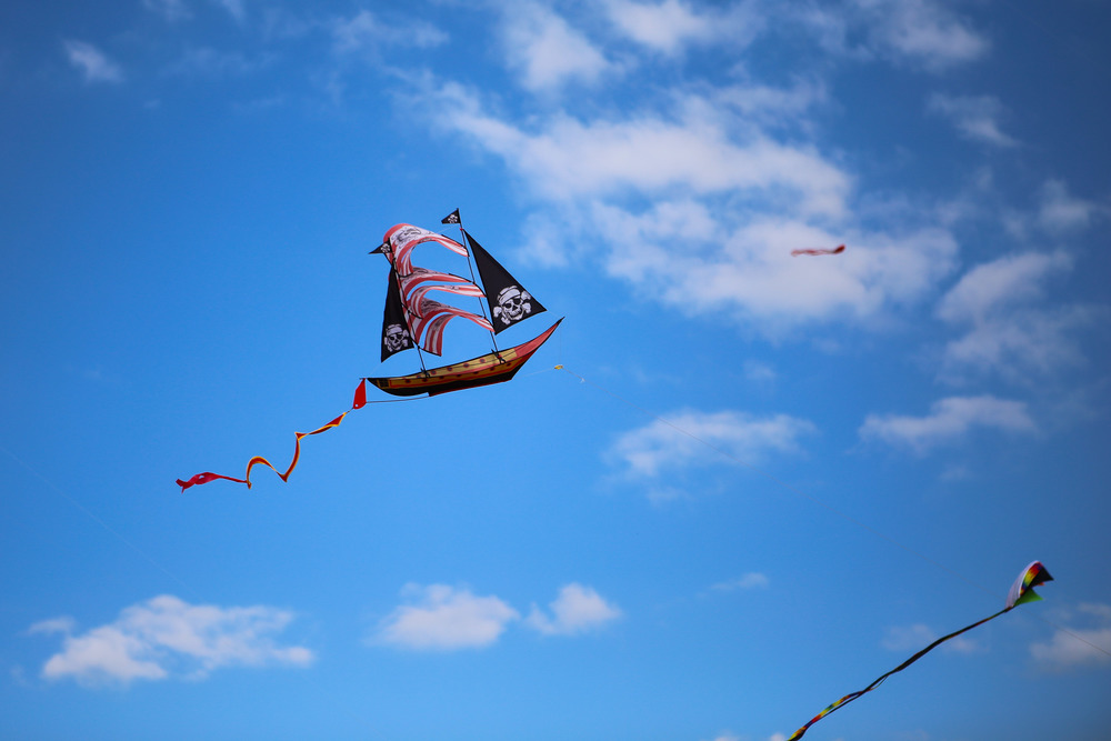 Among the unique kites in the sky at the festival was a pirate ship.