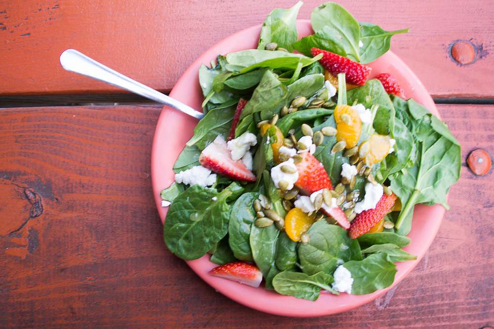 A colorful meal is a healthy meal: Dirty Martin's Texas Farmhouse Salad blends reds, greens, oranges and whites into a nutritious and satisfying plate.