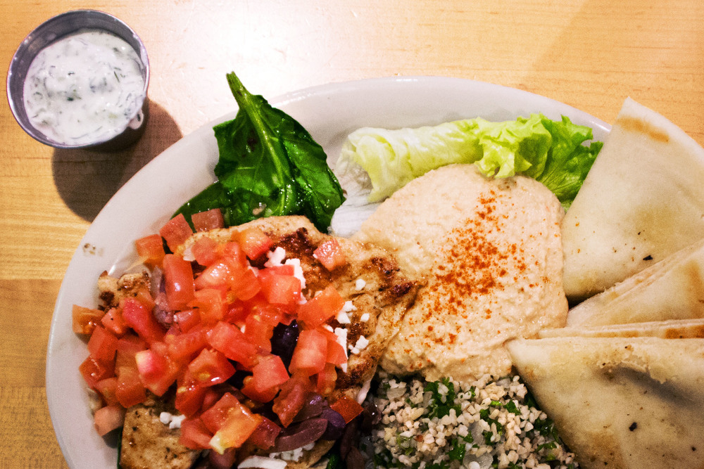 Kerbey Lane Cafe is famous for its pancakes, but their dinner menu is just as worthy of the attention. The Greek Chicken, with hummus, spinach leaves, tabouleh and pita bread, is a balanced and tasty meal.