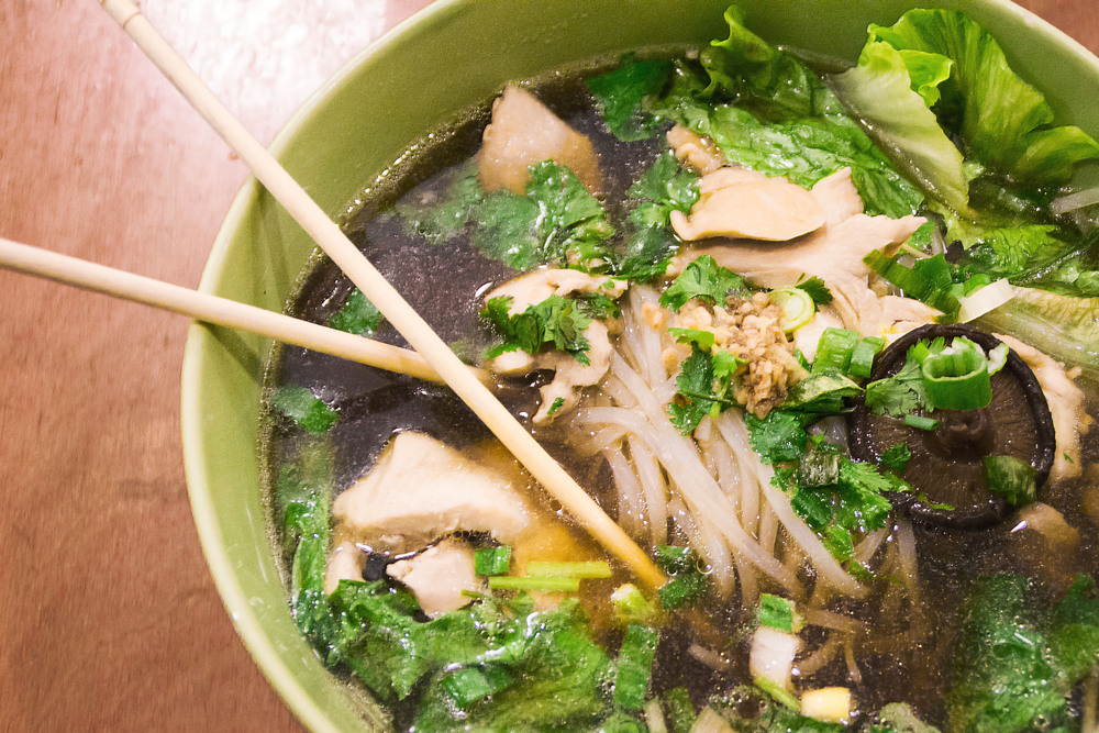 Madam Mam's Guay Teaw Gai Toon contains a hearty portion of chicken breast, rice noodles, lettuce and chives in a light five-spice soup.