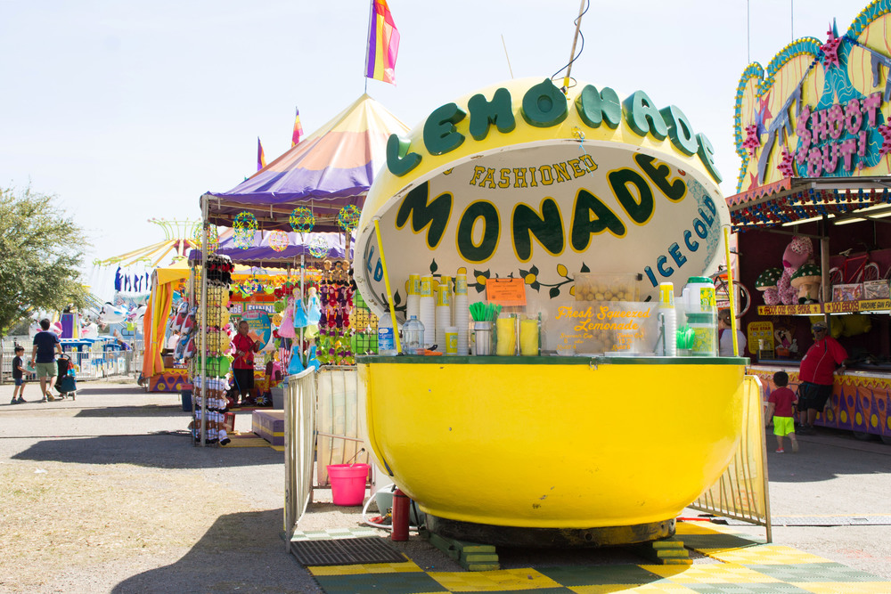 Brilliantly yellow, Bill Kraus' lemonade stands out in the midst of the fairgrounds, advertising deliciously sweet lemonade.