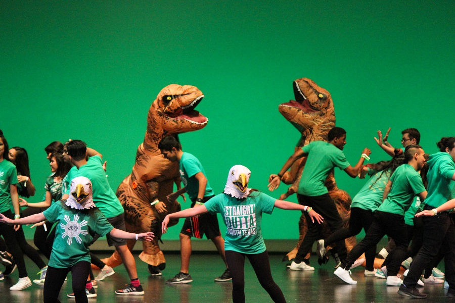 University of North Texas brought out the eagles and dinosaurs for their Spirit performance.