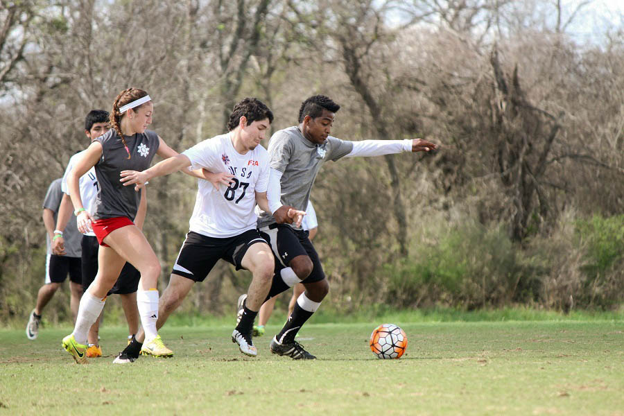 The soccer game between University of St. Thomas and UT San Antonio was just one of the intense matches held at the Onion Creek Soccer Complex.