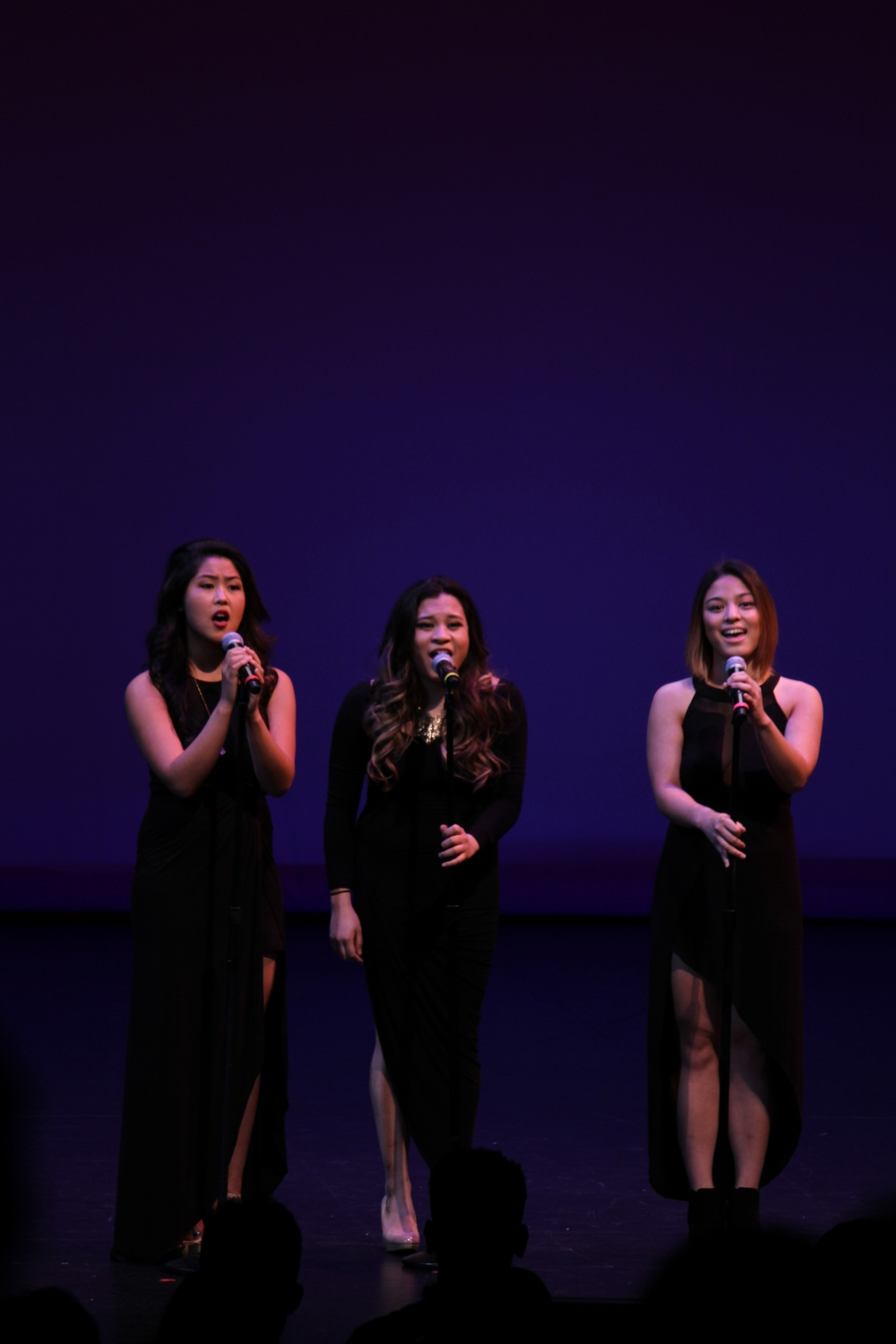 Alyssa Abrenica, Kelsey Rae Largoza and Mary Ann Villano started the night with the national anthem.