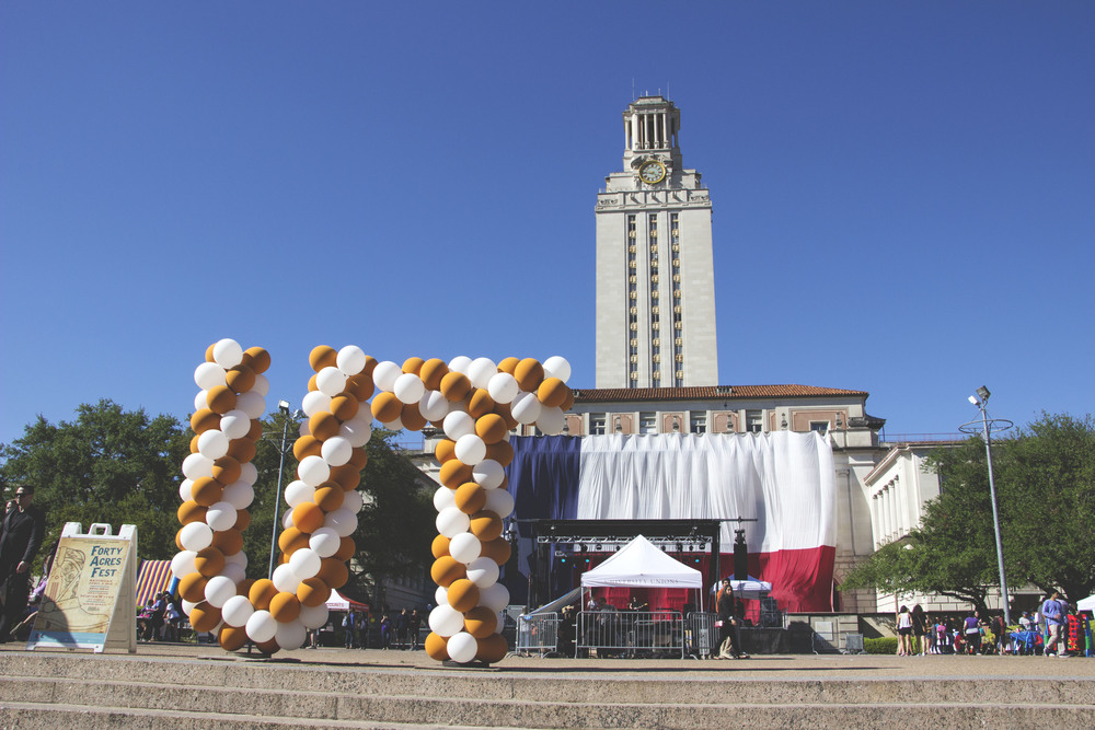 Forty Acres Fest takes place in front of the UT tower.