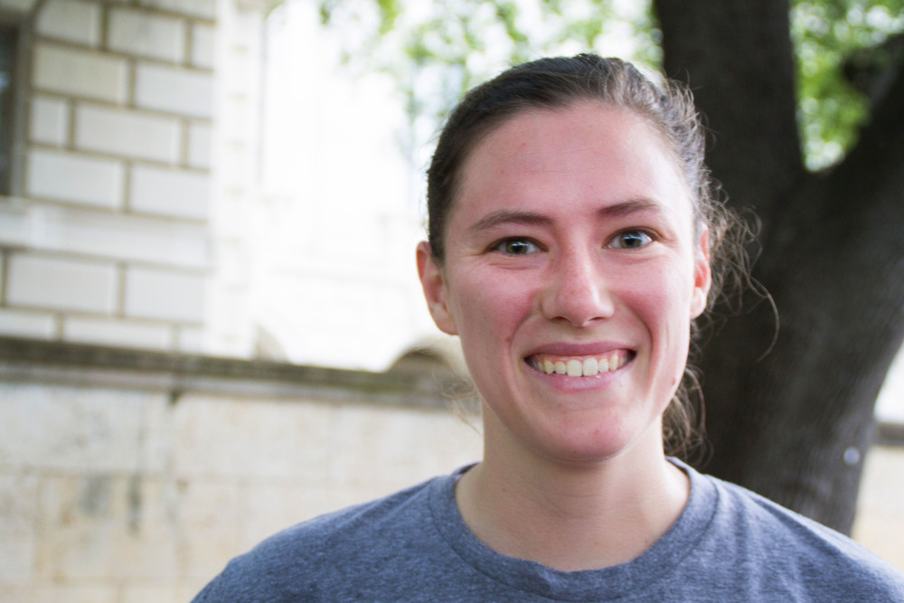 """Mechanical Engineering senior Amber Dressler has participated in the Longhorn Run before, and has been running since her freshman year of college. """"It's a good stress relief from engineering classes,"""" Amber says."""