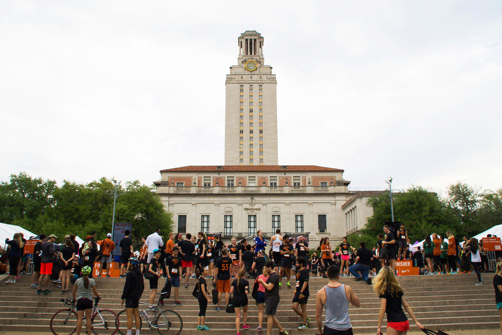 After the race, participants gather underneath the UT tower for photos, free food, and good conversation.