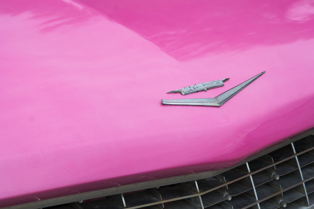 A shock of pink: kooky cars of all colors were present, some with designs and decals.