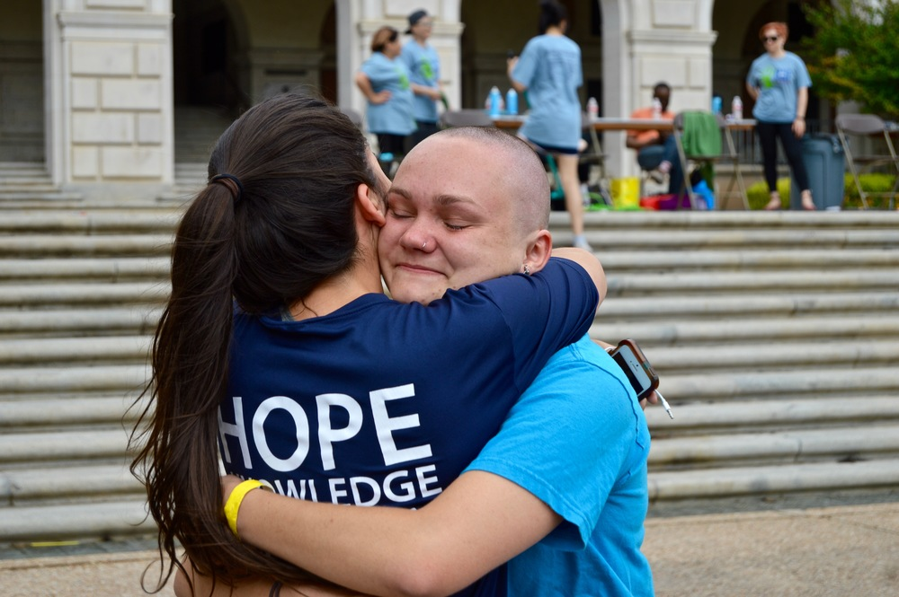 Many hugs were given and many tears were seen on Sunday at Brave the Shave.