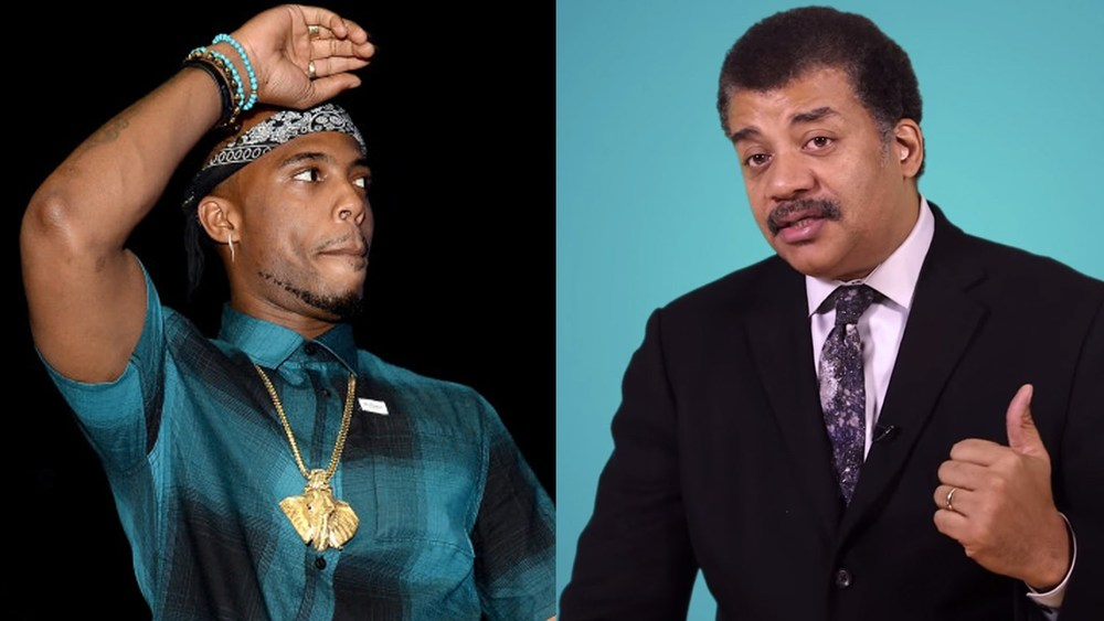 B.o.B (left) and Neil DeGrasse Tyson (right).
