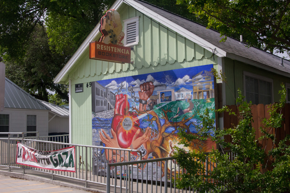 The mural on the front of Resistencia's building was made by an art program at a youth detention center.