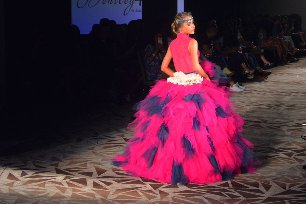 A hot pink and navy tulle ball gown opens Bentley + Lane's show on Saturday, April 23. Photo by Dahlia Dandashi.