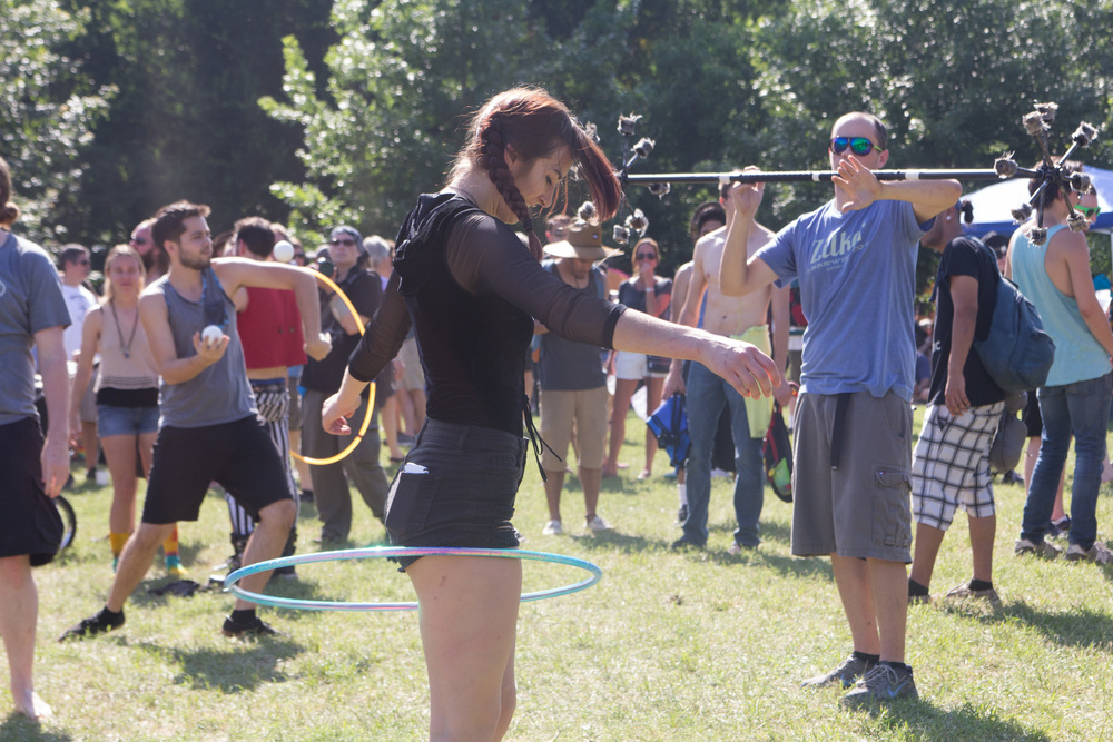 People to show off their Hula Hooping, Juggling, and (unlit) fire twirling talents.