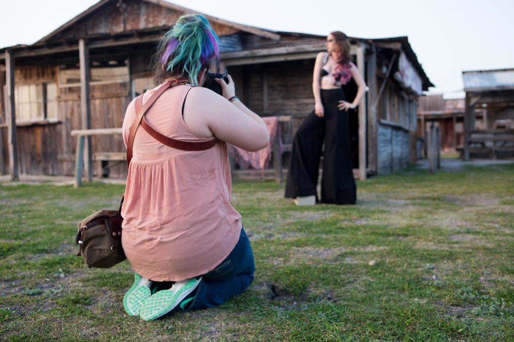Nordström shoots model Anna Cash on top of hidden cinderblocks to give her height against her backdrop.