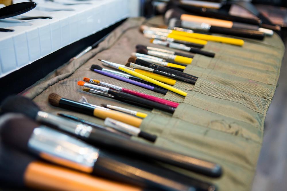 Makeup artist Lauren Garcia's vast collection of brushes.