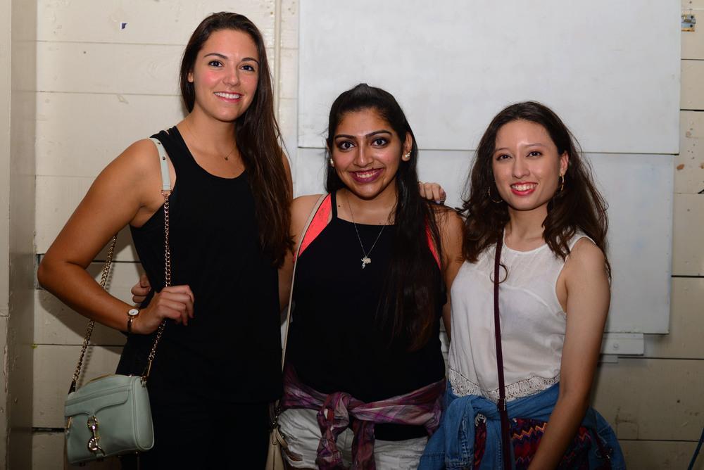 ORANGE editors Emma Whalen, Karla Pulido and Estephanie Gomez cheese for the camera. Photo by Dahlia Dandashi.
