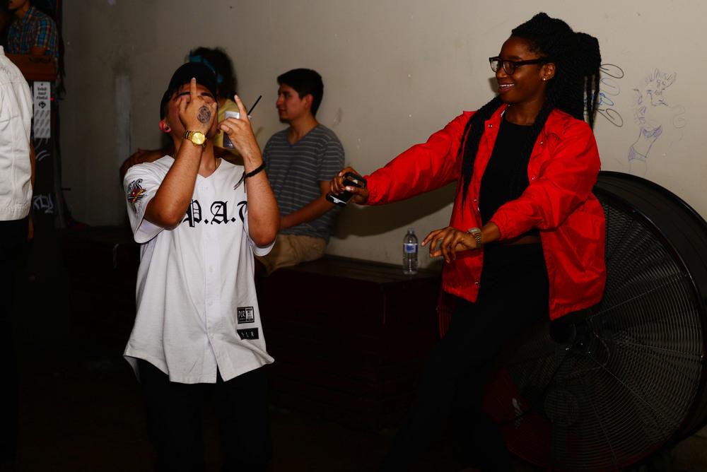 Party goers Paul Ramirez and Amarie Gipson get lit. Photo by Dahlia Dandashi.
