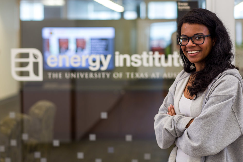 Journalism junior Alex Samuels stands outside of the UT Energy Institute, where she is currently an intern.