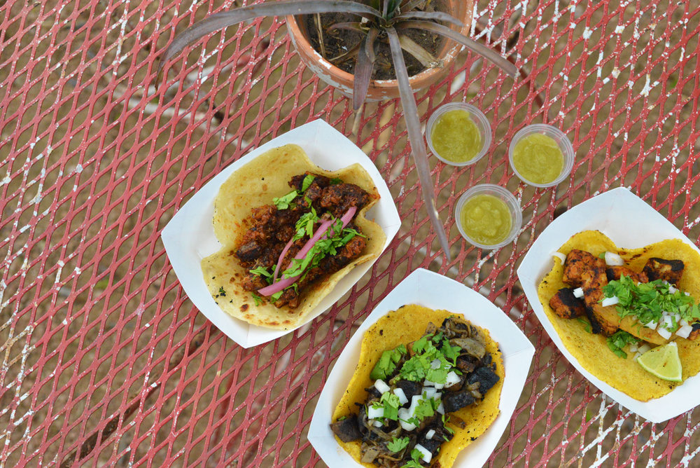 Vegan Q-rizo, portobello fajita, and garbanzo Al Pastor tacos are served at the food truck, Cool Beans.
