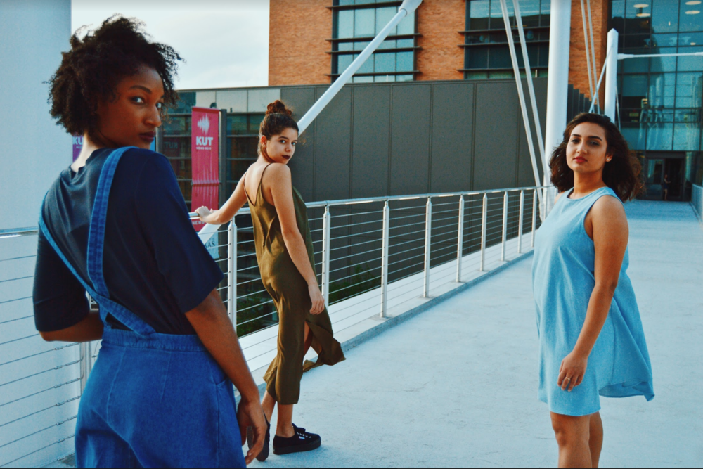 (From L to R) Models Ebanie, Melina and Saumya pose outside Once Bitten.