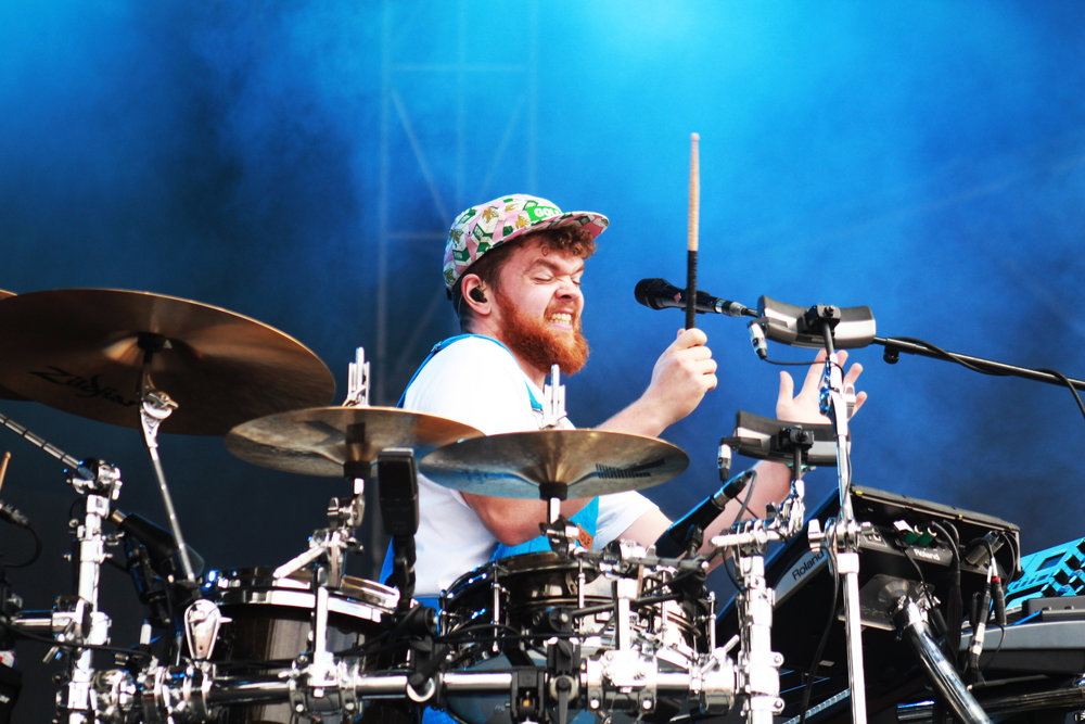 Jack Garratt plays multiple instruments for his set, a true one man band.