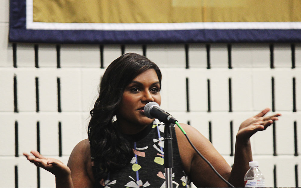 Mindy Kaling answers an audience question.