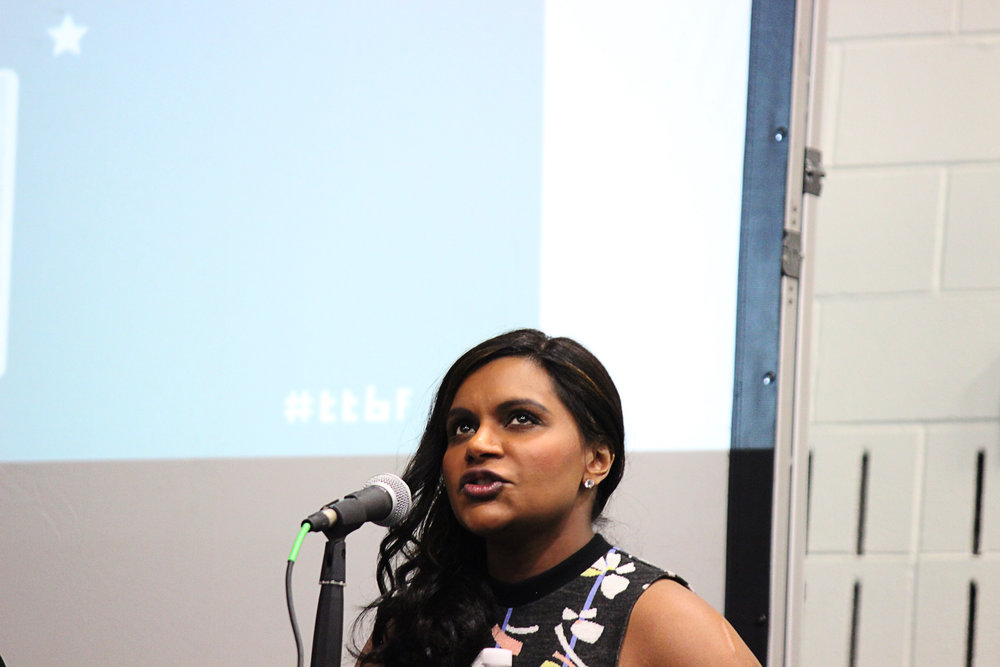 Mindy Kaling speaks to the audience.