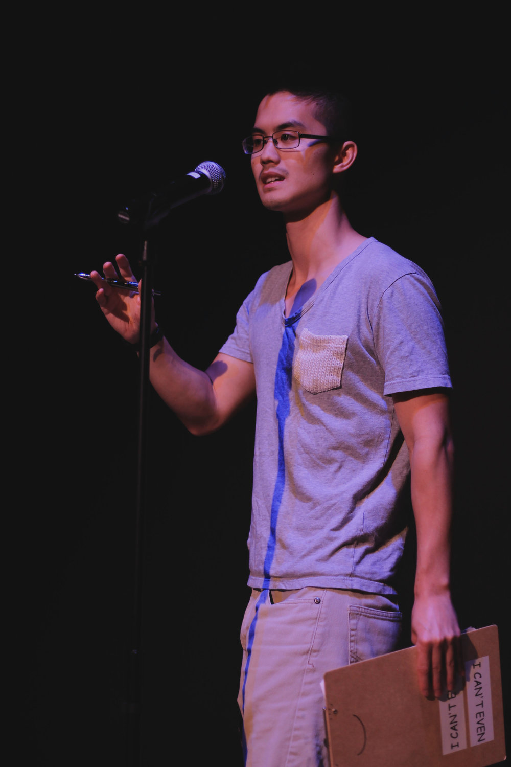 Host Joshua Nguyen entertains the audience as he announces performers.