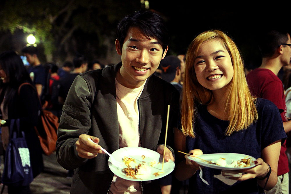 Students enjoy the event's free food.