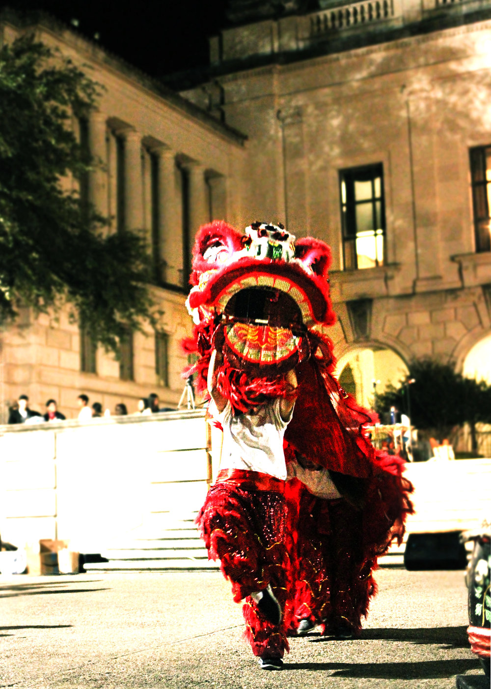 The Texas Dragon Dance Team roars.
