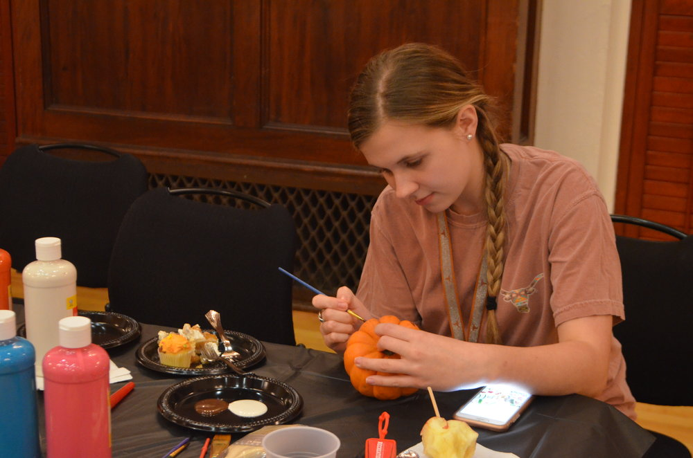 There was a variety of pumpkin theme activities, such as pumpkin carving, pumpkin painting and a pie eating contest.