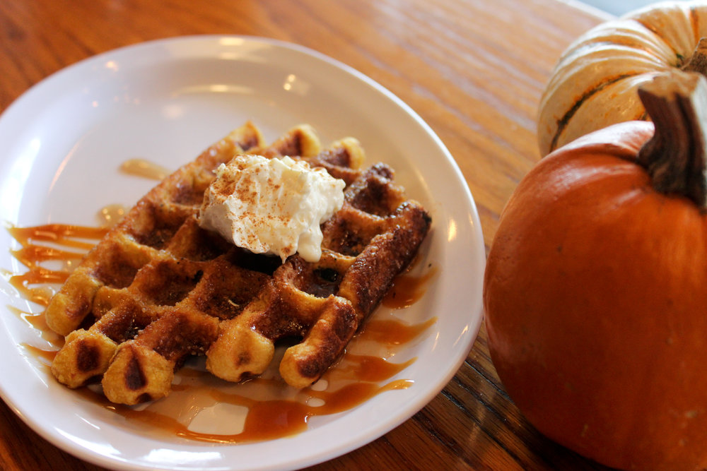 Mary's Pop Shop is getting into the festivities of this holiday season with pumpkin liege waffles. Photo by Miranda Chiechi.