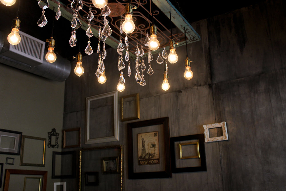 The lights and decorations of Winebelly create an idyllic atmosphere for an evening out.