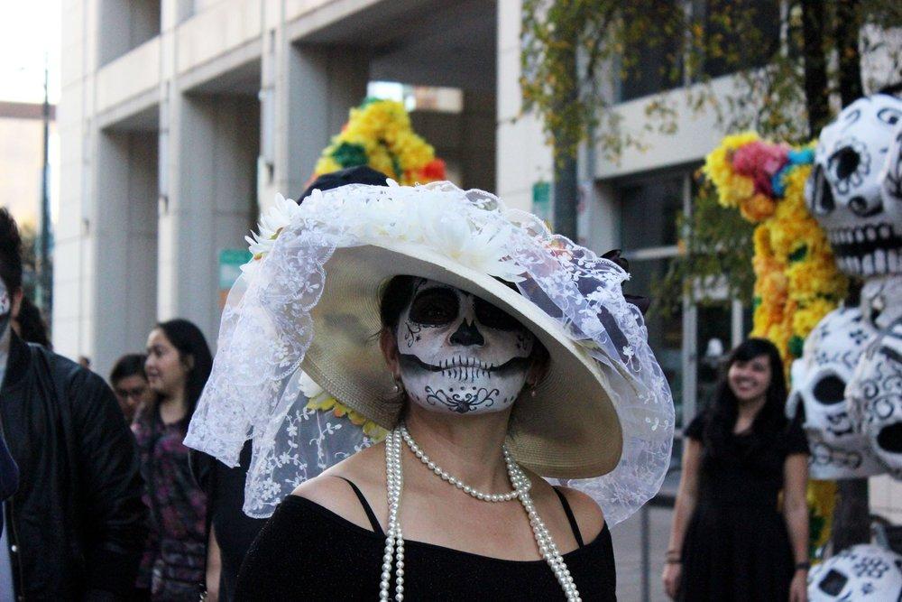 Women dressed as La Calavera Catrina at Viva La Vida Festival.