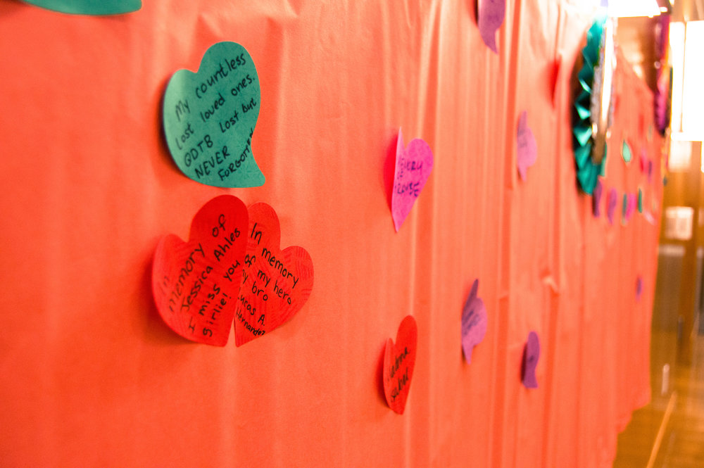 The Memory Wall was a DIY activity where MACC asked for attendees to add the name of their dead loved one and one happy memory.