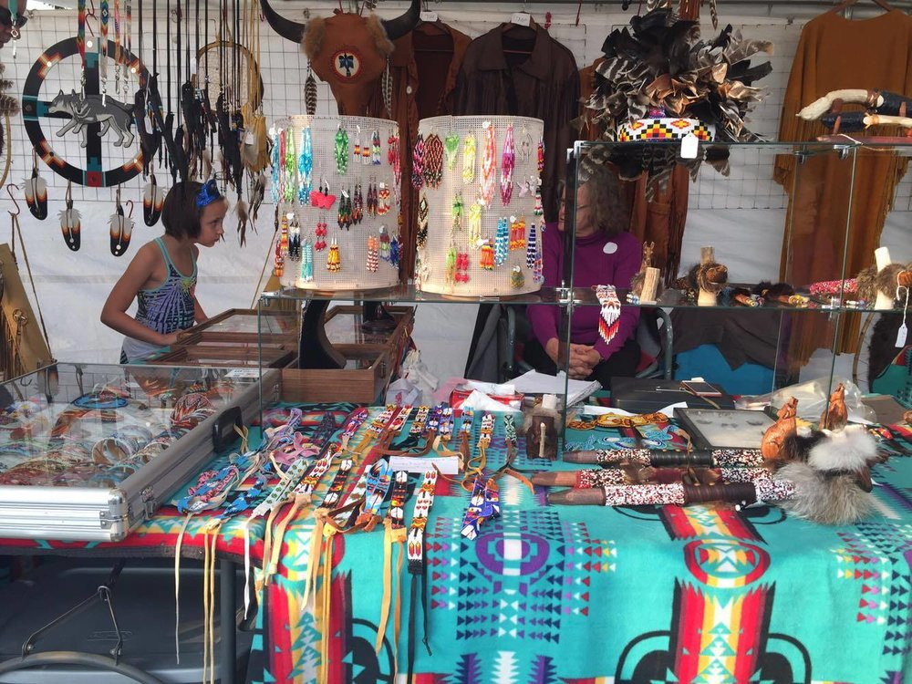 Handmade Native jewelry was sold at the market.