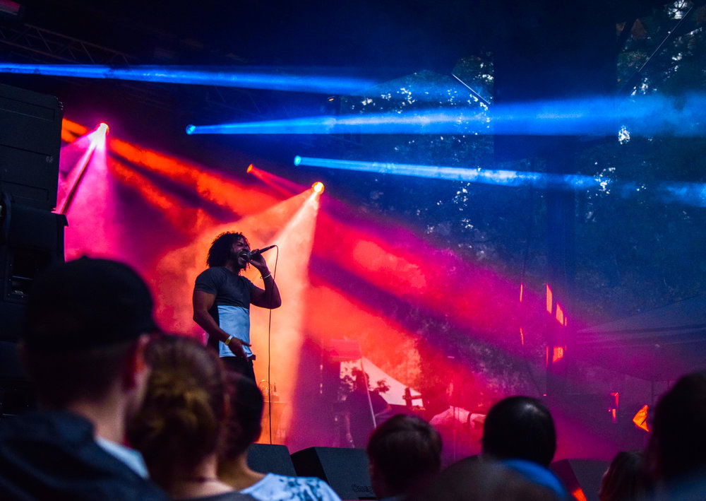 MC Daveed Diggs of Clipping raps to the crowd.