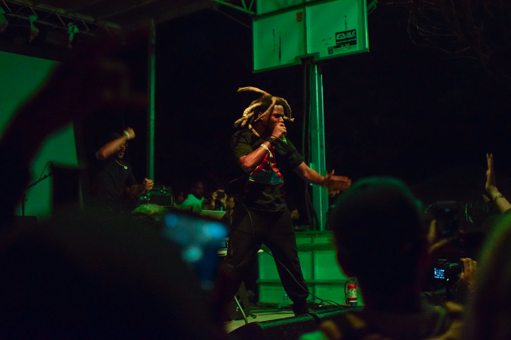 Denzel Curry performs with high energy.