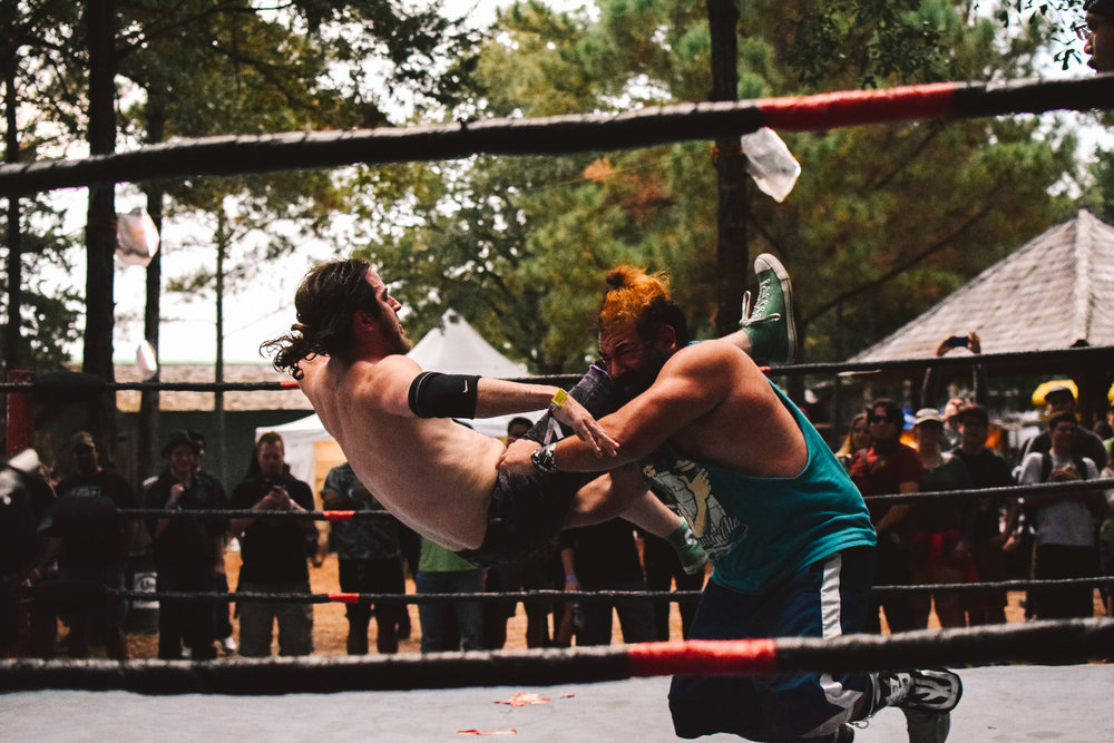 Festival-goers were further entertained by a live action wrestling match.