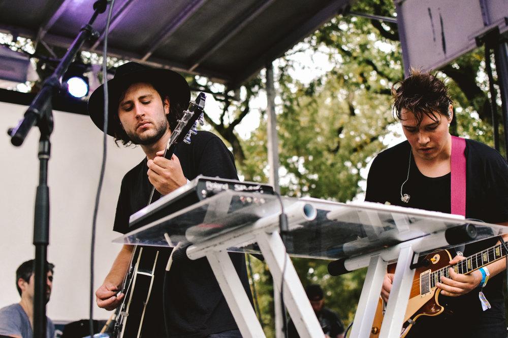 Lead singer Josh Kolenik (left) and guitarist/keyboardist Ryan Heyner (right) of Small Black play to the crowd.