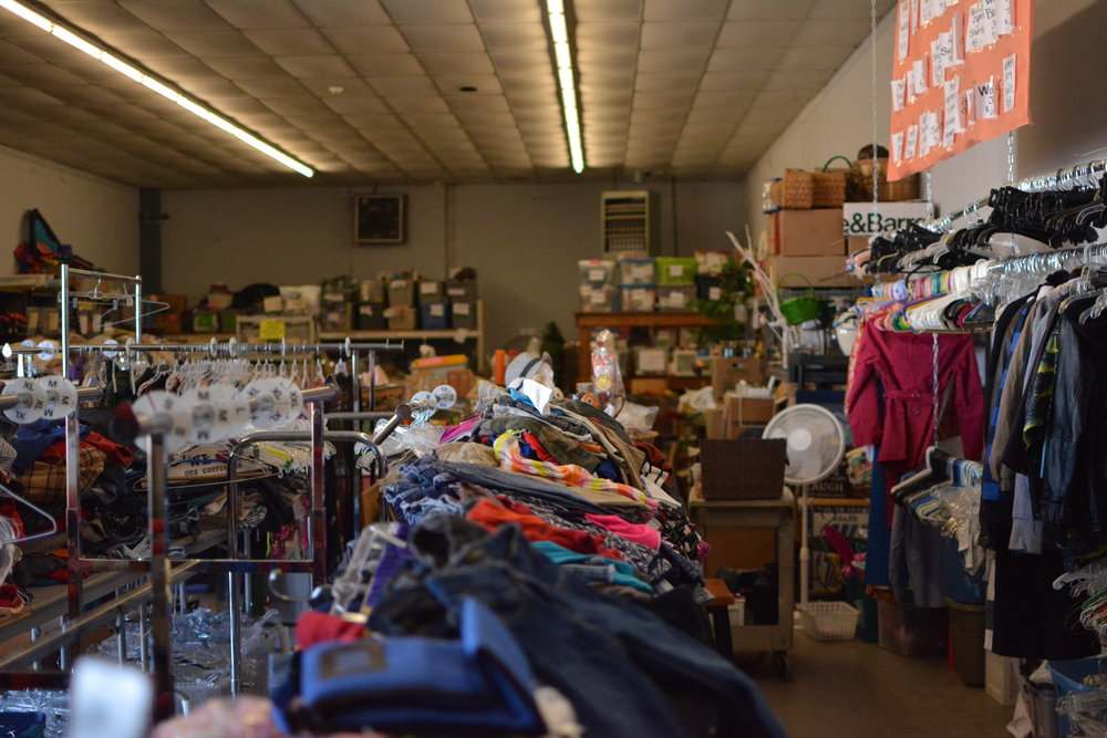 The back stock is overflowing due to large amounts of donations at the HOPE Family Thrift Center in Austin, Texas.