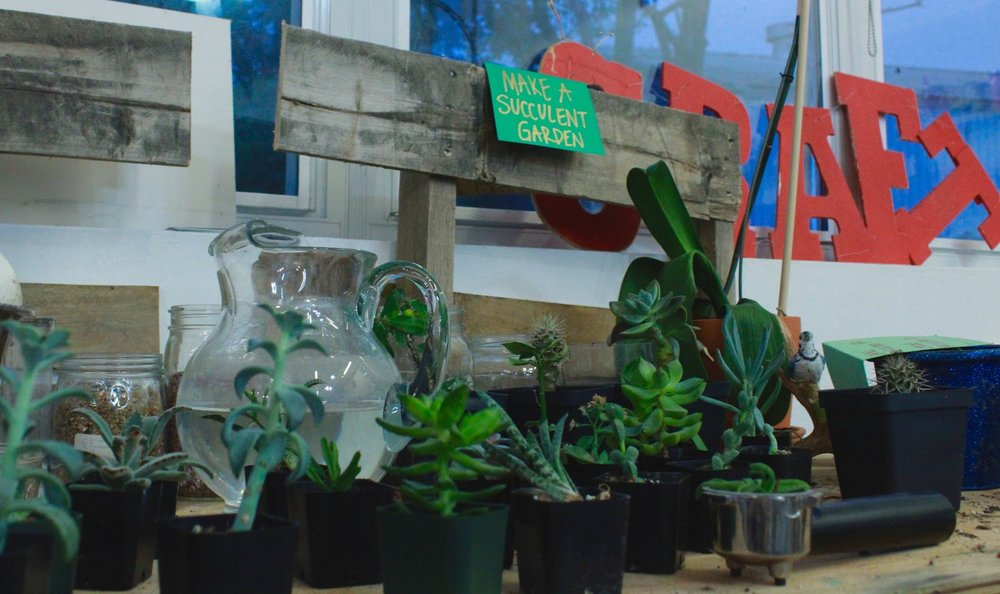 One of the many crafting stations featured around CRAFT studio, the succulent station is one of the more popular crafts.