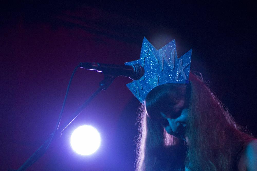 "Lisa Prank sporting her handmade ""PRANK"" crown."