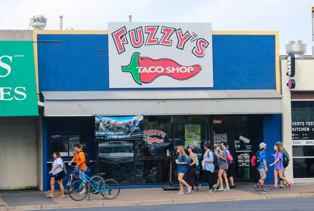 Located at Guadalupe St. and Dean Keeton St., Fuzzy's Taco Shop inherits the fun and laidback atmosphere of the Drag.