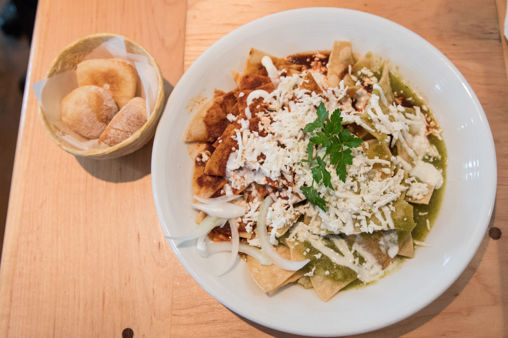 The chilaquiles of El Naranjo come topped with your choice of their homemade salsas.