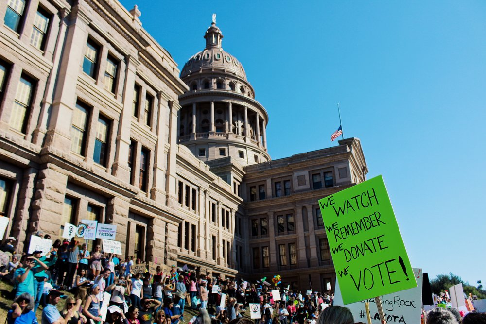 50,000 people gather for the march at The Texas Capitol.